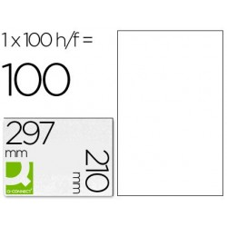 ETIQUETA ADHESIVA Q-CONNECT KF10664 TAMA?O 210X297 MM FOTOCOPIADORA LASER INK-JET CAJA CON 100 HOJAS DIN A4
