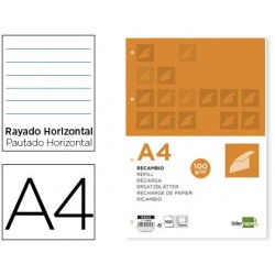 RECAMBIO LIDERPAPEL A4 100 HOJAS 100G/M2 HORIZONTAL CON DDOBLE MARGEN 4 TALADROS