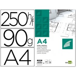 PAPEL DIBUJO LIDERPAPEL 210X297MM 90G/M2 VEGETAL