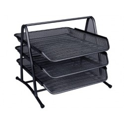 BANDEJA SOBREMESA METALICA Q-CONNECT KF00823 REJILLA NEGRA 3 BANDEJAS MOVIBLES 350X278X275 MM