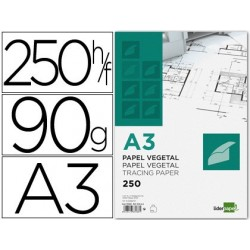 PAPEL DIBUJO LIDERPAPEL 297X420MM 90G/M2 VEGETAL
