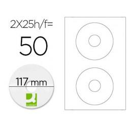 ETIQUETA ADHESIVA Q-CONNECT KF01579 -TAMA?O CD-ROM -FOTOCOPIADORA -LASER -INK-JET-CAJA CON 25 H/50 ETIQUETAS