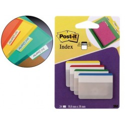 BANDERITAS SEPARADORAS RIGIDAS DISPENSADOR 4 COLORES POST-IT INDEX 686-F-1 GRANDES 24 BANDERITAS