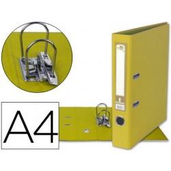 ARCHIVADOR DE PALANCA LIDERPAPEL A4 DOCUMENTA FORRADO PVC CON RADO LOMO 52MM AMARILLO COMPRESOR METALICO