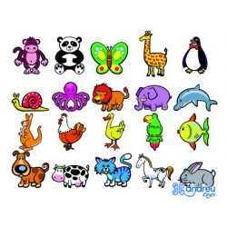 JUEGO ANDREUTOYS ANIMALITOS MAGNETICOS 8 CM CAJA DE 20 UNIDADES SURTIDAS 20,6X19X4,5 CM