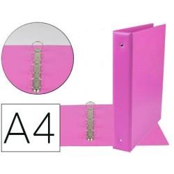 CARPETA DE 4 ANILLAS 40 MM MIXTAS LIDERPAPEL A4 CARTON FORRADO PVC FUCSIA