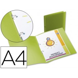 CARPETA LIDERPAPEL 2 ANILLAS REDONDAS MINI 15 MM 49073 POLIPROPILENO DIN A4 VERDE