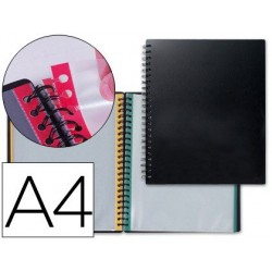 CARPETA LIDERPAPEL DIN A4 CON 20 FUNDAS INTERCAMBIABLES BORDES DE COLORES COLOR NEGRO