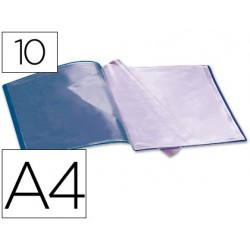 CARPETA LIDERPAPEL ESCAPARATE 37902 10 FUNDAS POLIPROPILENO DIN A4 AZUL