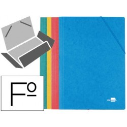 CARPETA LIDERPAPEL GOMAS FOLIO 3 SOLAPAS CARTON SIMIL PRESPAN COLORES SURTIDOS PACK 4