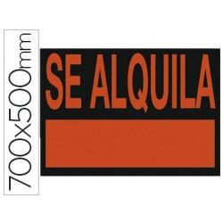 """CARTEL PLASTICO """"SE ALQUILA"""" ROJO FLUORESCENTE 700X500 MM"""