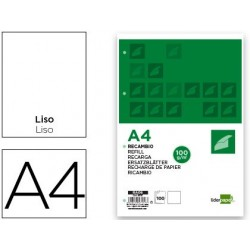 RECAMBIO LIDERPAPEL A4 100 HOJAS 100G/M2 LISO SIN MARGEN 4 TALADROS