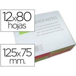 BLOC DE NOTAS ADHESIVAS QUITA Y PON Q-CONNECT 125X75 MM CON 80 HOJAS FLUORESCENTES PACK DE 12 -SURTIDAS EN 4 COLORES