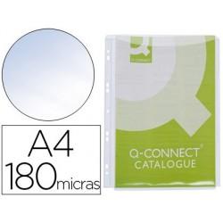 FUNDA MULTITALADRO Q-CONNECT CON FUELLE DIN A4 PVC 180 MICRAS - BOLSA DE 5