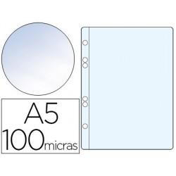 FUNDA MULTITALADRO Q-CONNECT DIN A5 100 MC CRISTAL 6 TALADROS BOLSA DE 10