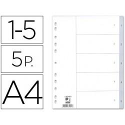 SEPARADOR NUMERICO Q-CONNECT PLASTICO 1-5 JUEGO DE 5 SEPARADORES DIN A4 -MULTITALADRO