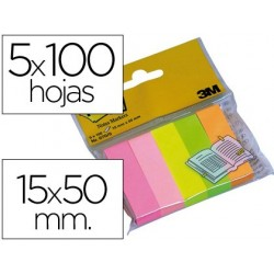 BLOC DE NOTAS ADHESIVAS QUITA Y PON POST-IT 15 X 50 MM COLORES SURTIDOS MININOTAS 670/5