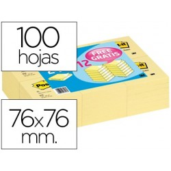 BLOC DE NOTAS ADHESIVAS QUITA Y PON POST-IT 76X76MM -PACK PROMOCIONAL 24+12
