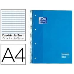 BLOC ESPIRAL OXFORD EUROPEAN BOOK TAPA EXTRADURA DIN A4 80 HOJAS CUADRICULA 5 MM COLOR TURQUESA