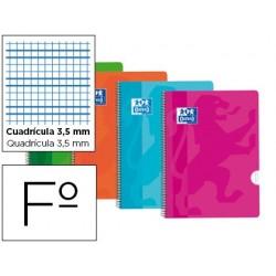 BLOC ESPIRAL OXFORD TAPA PLASTICO OPTIK PAPER MICROPERFORADO DIN A4 120 H 50% HOJAS GRATIS CUADROS 5 MM