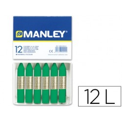 LAPICES CERA MANLEY UNICOLOR VERDE NATURAL -CAJA DE 12 N.21
