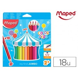 LAPICES DE COLORES MAPED COLOR PEPS JUMBO BLISTER DE 18 COLORES