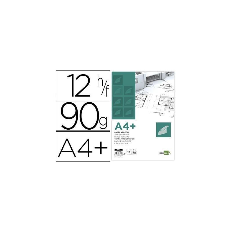 PAPEL DIBUJO LIDERPAPEL A4+ 320X240MM 90G/M2 VEGETAL SOBRE DE 12 HOJAS