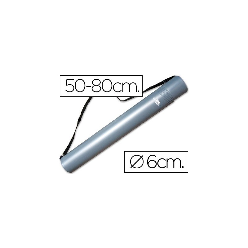 PORTAPLANOS PLASTICO LIDERPAPEL DIAMETRO 6 CM EXTENSIBLE HASTA 80 GRIS