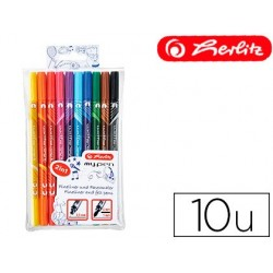 ROTULADOR HERLITZ MY-PEN DOBLE PUNTA 0,5/4 MM BLISTER DE 10 COLORES SURTIDOS