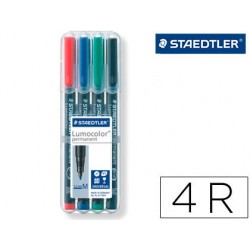 ROTULADOR STAEDTLER LUMOCOLOR RETROPROYECCION PUNTA DE FIBRA PERMANENTE 317 WP ESTUCHE 4 COLORES PUNTA MEDIA