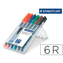 ROTULADOR STAEDTLER LUMOCOLOR RETROPROYECCION PUNTA DE FIBRA PERMANENTE 317 WP ESTUCHE 6 COLORES PUNTA MEDIA