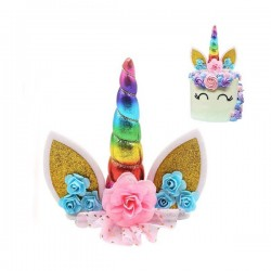 CAKE TOPPER UNICORNIO ARCOIRIS DECORACION TARTAS