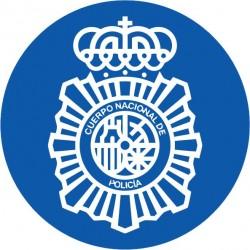 Pegatina Policía Nacional Redondo Lineas Blancas
