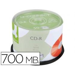 CD-R Q-CONNECT CON SUPERFICIE 100% IMPRIMIBLE PARA INKJET CAPACIDAD 700MB DURACION 80MINVELOCIDAD 52X BOTE DE 50 UNID