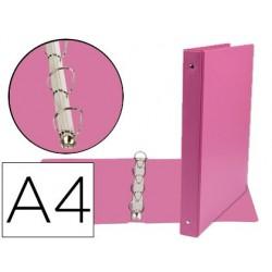 CARPETA DE 4 ANILLAS 25 MM MIXTAS LIDERPAPEL A4 CARTON FORRADO PVC FUCSIA