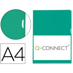CARPETA DOSSIER U?ERO PLASTICO Q-CONNECT DIN A4 120 MICRAS VERDE CAJA DE 100 UNIDADES