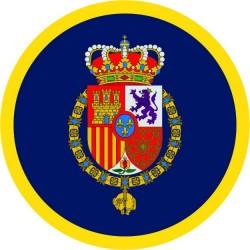 Pegatina Casa Real Felipe VI Redondo Con Orla Fondo Azul