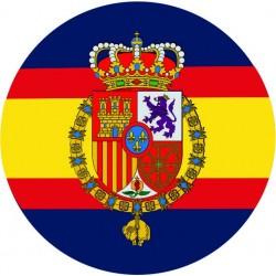 Pegatina Casa Real Felipe VI Redondo Sin Orla Fondo Azul