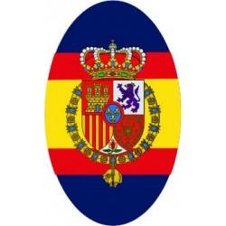 Pegatina Casa Real Felipe VI Ovalado Sin Orla Fondo Azul