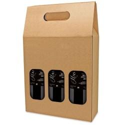 Caja Carton para 3 botellas con ventana