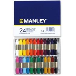Lapices cera manley -caja de 24 colores