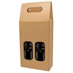 Caja Carton para 2 botellas con ventana