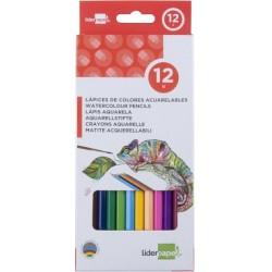 Lapices de colores acuarelables liderpapel caja de 12...