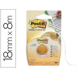 CINTA ADHESIVA POST-IT 8X18 MM 2 LINEAS EN PORTARROLLO...