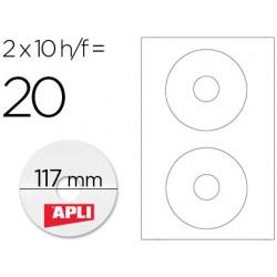 ETIQUETA ADHESIVA APLI 10603 TAMA?O CD-ROM 117 MM PARA...