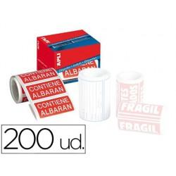 ETIQUETAS APLI CONTIENE ALBARAN 50X100 MM ROLLO CON 200...