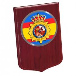 Metopa Madera Grande 245x175mm Con Chapa Policia España