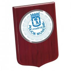 Madera Mini 190x135mm Con Chapa Policia Municipal de...