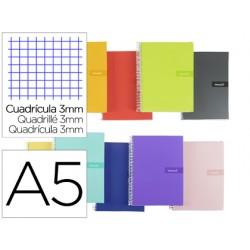 Cuaderno espiral liderpapel a5 crafty tapa forrada 80h 90...