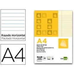 Bloc notas liderpapel horizontal a4 50 hojas amarillas...